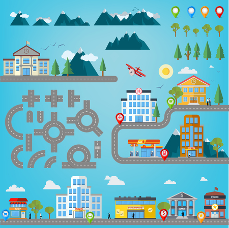 road construction: Road construction kit for infographics with buildings like hospital, police station, gas station, shop, market, super market