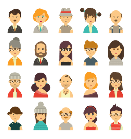 front facing: Cute avatars, character torsos of different type of people