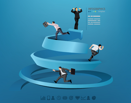 Illustration of a business race with business men running toward the goal