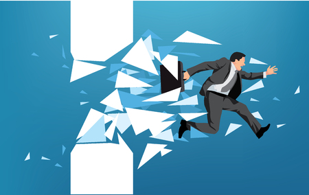 Businessman breaking through obstacle or escaping towards greater goal Illustration