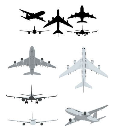 Airplane illustrations set with landing, taking off and flying airplanes Illustration