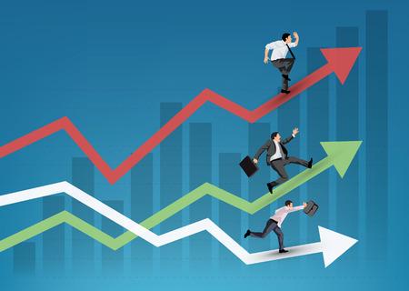 企業人員在圖表符號上運行團隊合作和競爭