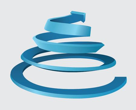 Trójwymiarowa spirala z ruchem w górę i strzałką na górze