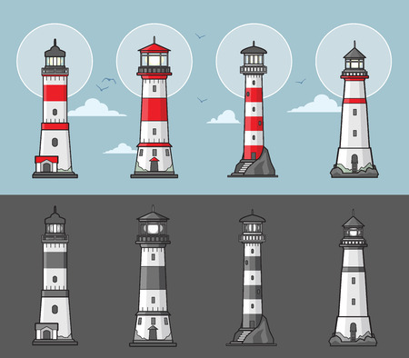 Set of lighthouses illustration in color and monochrome style Illustration
