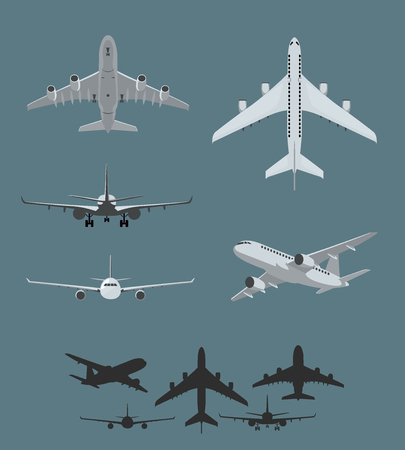 Airplane silhouettes collection of flying airplanes, taking off and landing airplanes