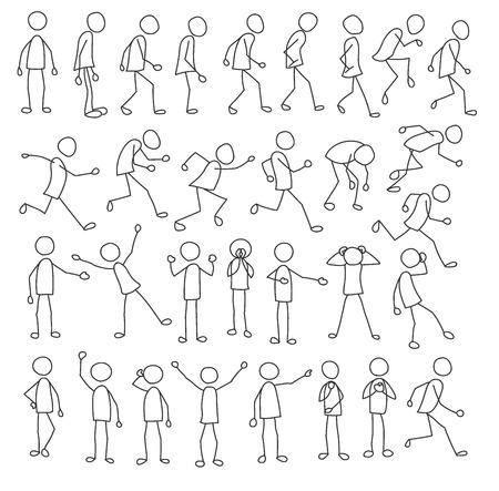 Colección de figuras de palo con figuras de palo corriendo, de pie, esperando y figuras de palo también en otras poses Ilustración de vector