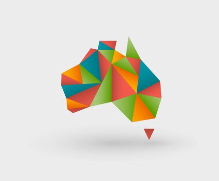 Carte de style origami colorée en triangles décrivant l'Australie