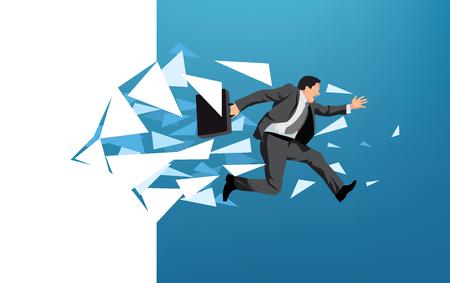 escape: Businessman breaking through wall symbolizing escape or motivation