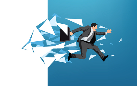 Businessman breaking through wall symbolizing escape or motivation