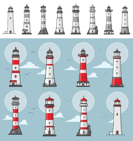 Collection of different lighthouse illustrations colored and monochrome versions Illustration