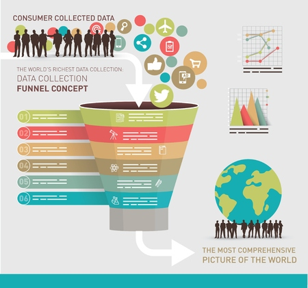 funnel: Data collection concept symbolized with a funnel