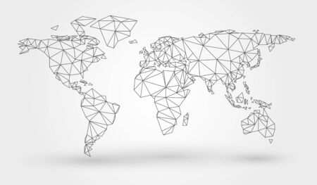 Abstract map of the world with connected triangular shapes formed from lines Illustration