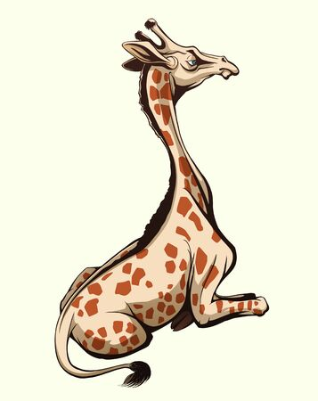 Sitting giraffe vector illustration isolated from background Illustration