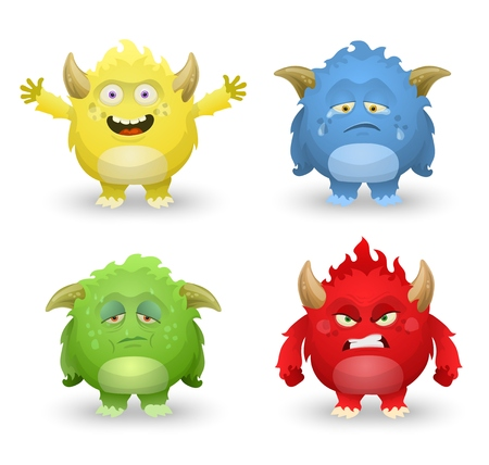 Cute monsters in different emotions, angry, happy, sad and sick