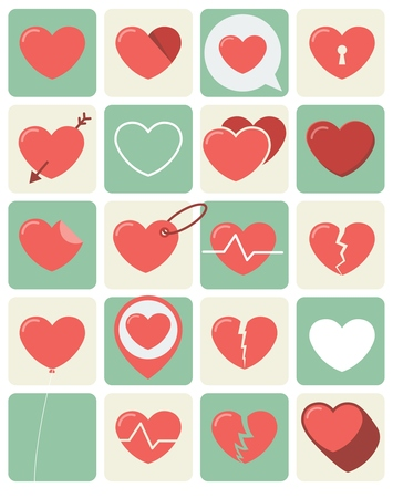 Flat Heart Icons set for love themed concepts Illustration
