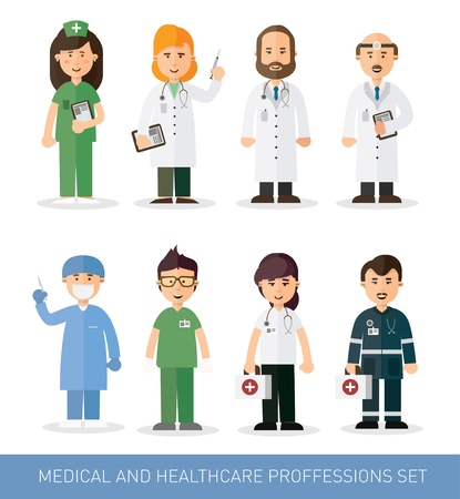Set of doctors and nurses and medical staff illustration. Medical team concept in flat design people character.
