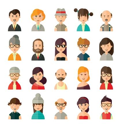 Collection de différents avatars dans un style plat de jeunes, vieux, femmes et hommes personnes