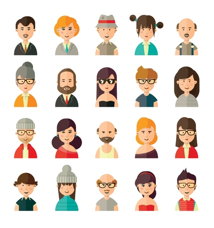 young woman: Collection of different avatars in flat style of young, old, female and male people