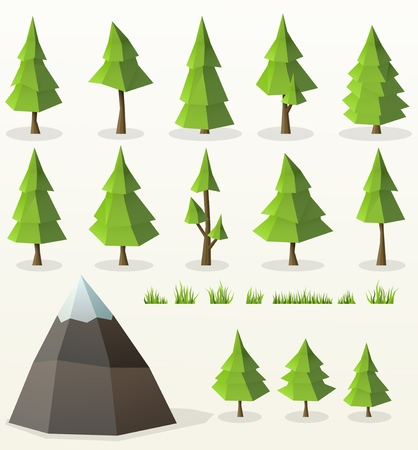 low poly conifer trees set for poster designs, banners, flyer, website designs and christmas backgrounds