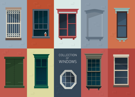 Collection of different vector window illustrations in flat style