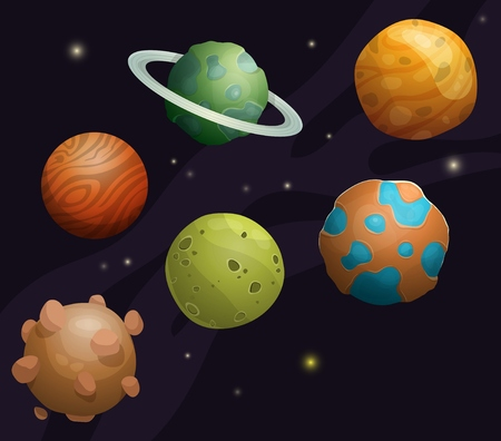 Set of cartoon fantastic planets and asteroids for space bacgrounds or games