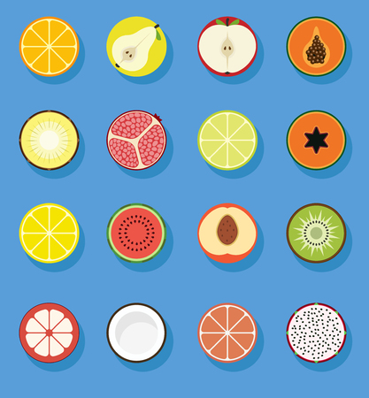exotics: fruit flat icons collection with even circle shapes