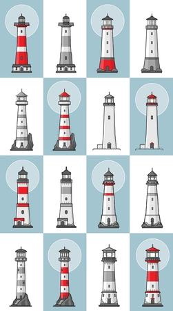 Vector set of cartoon flat lighthouses. Searchlight towers for maritime navigational guidance colored and monochrome versions