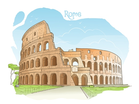 Handdrawn colored illustration of the Colosseum, Rome, Italy Ilustração