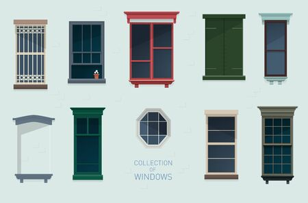 Collection of different vintage windows in flat style Illustration