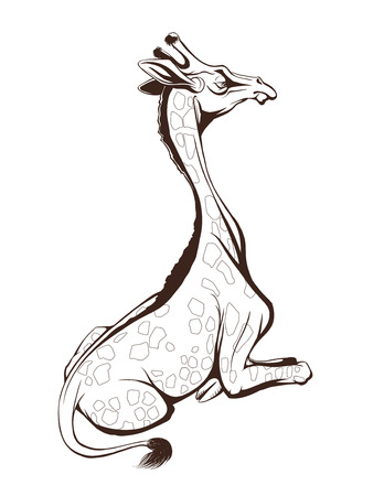 Vector outline of a giraffe illustration for coloring books or other media