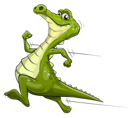 Illustration of a happy cartoon alligator running fast Ilustrace