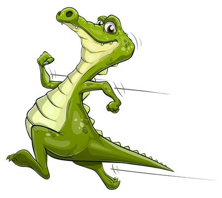 Illustration of a happy cartoon alligator running fast Illustration