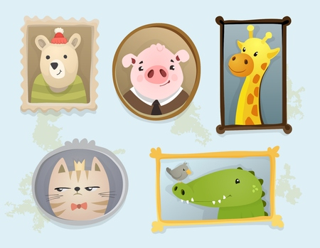 brown: Illustration of cute cartoon handdrawn animal portraits framed