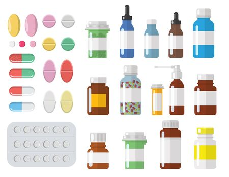Set of different sized medical containers, bottles, phials, and different pills