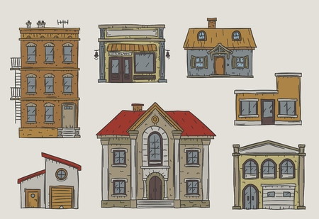 Handdrawn buildings set in a vintage sketchy style Stock Photo