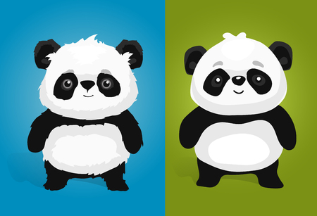happy black people: Cute giant panda illustrations in different style Illustration