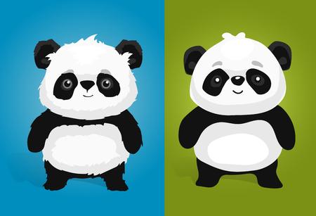 illustrations panda géant mignon dans un style différent Vecteurs