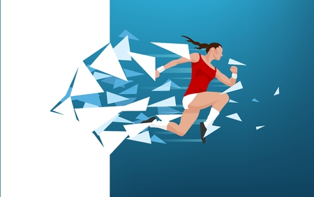 Illustration of an athlete woman breaking throug a wall symbolizing reach of boundaries, accomplishment and success