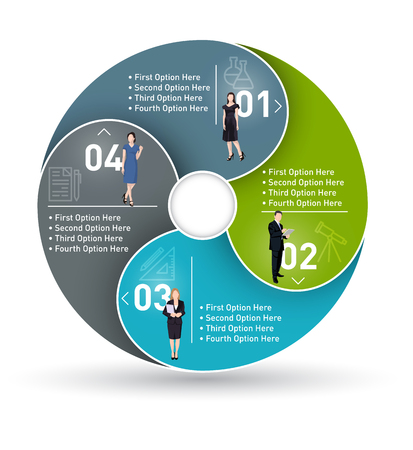 Business circle infographic, diagram presentation with 4 steps Illustration