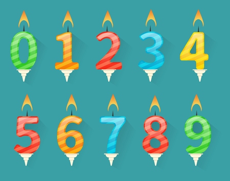 Collection of birthday number candles numbered from number 0 to number 9