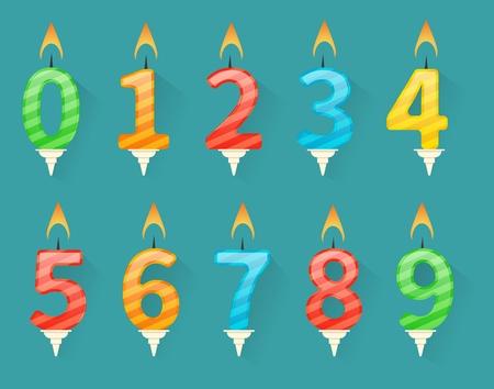 Sammlung von Geburtstag Nummer Kerzen nummeriert von Nummer 0 bis Nummer 9 Standard-Bild - 74098634