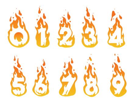 numero nueve: Ilustración de números ardiendo en un fuego del número 1 al número 10