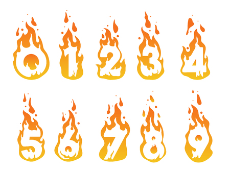 Illustration of burning numbers in a fire from number 1 to number 10 Illustration