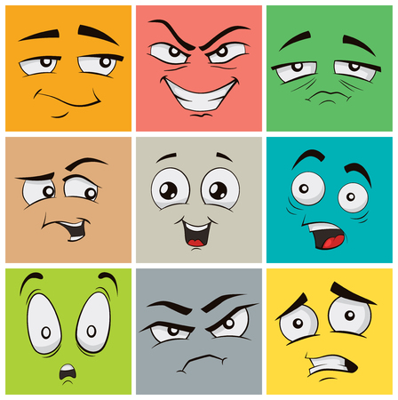 Collection of funny cartoon facial expressions, emoticons