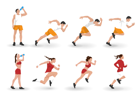 Vector illustration of young adult man and woman fitness characters running and resting Illustration