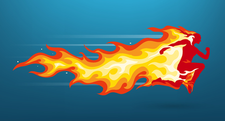 Unisex human character silhouette running in flames. Vector illustration Illustration