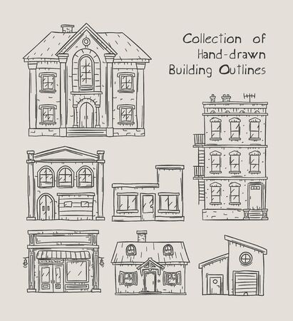 Doodle outline hand drawn buildings, houses, homes and public buildings vector illustrations Illustration