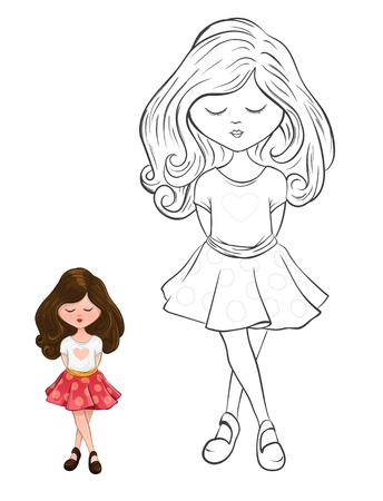 cartoon style cute little child full body standing position outline version for coloring books Ilustrace