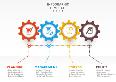 Vector business and industry gear style circle infographic for graphs, charts, diagrams with 4 options, parts, steps. Illustration