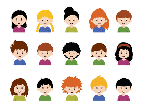 Big set of vector kids avatars,cute cartoon boys and girls faces with various emotions Illustration